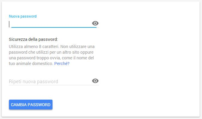 Inserire la Password - Impostazioni Account Google - Cambiare Password Gmail