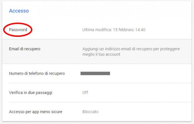 Impostazioni Account Google - Cambiare Password Gmail