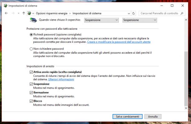 Opzioni di Risparmio Energia - Ibernazione Windows 10