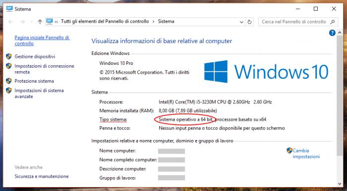 Vedere se Windows è a 32 o 64 bit