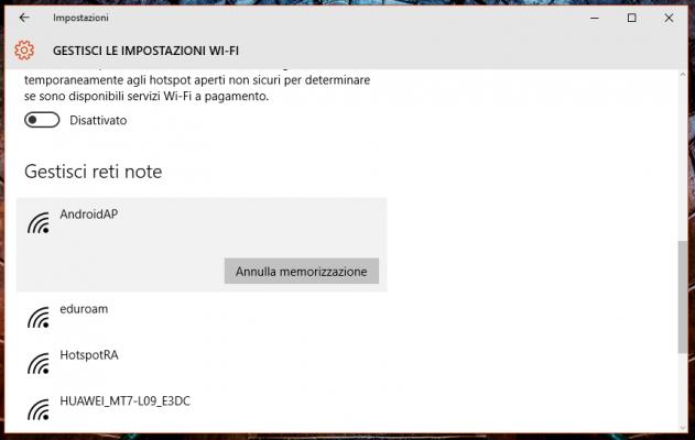Dimenticare Rete Wi-Fi su Windows 10