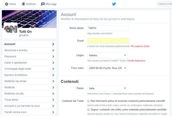 Eliminare Notifiche e-mail Twitter 2