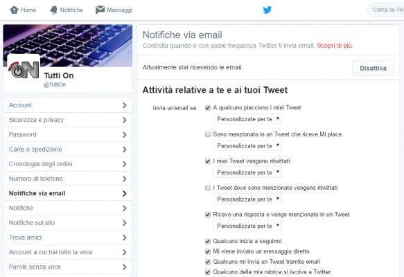 Eliminare Notifiche e-mail Twitter 3