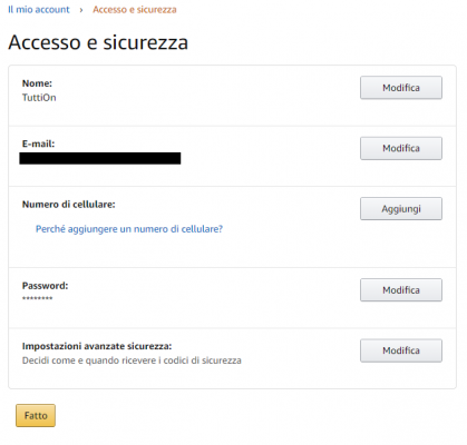 cambiare password amazon - 2
