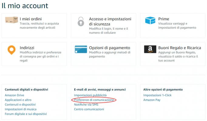 Il mio account - Eliminare le notifiche email di Amazon