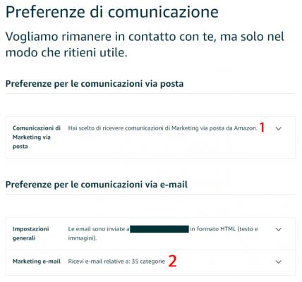 Preferenze di Comunicazione - Eliminare le notifiche email di Amazon