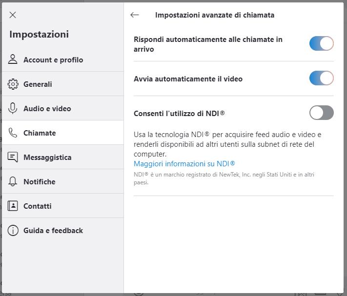 Attivare risposta automatica e video - Skype